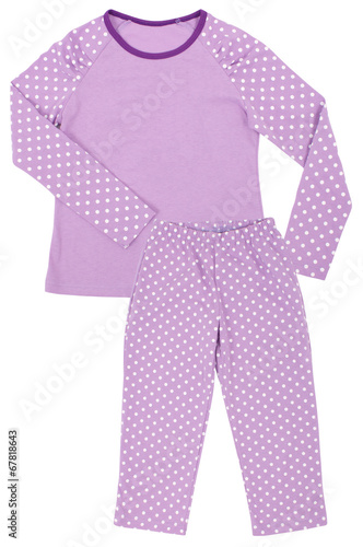 Leinwandbild Motiv Pink childrens girls pajama set isolated on white
