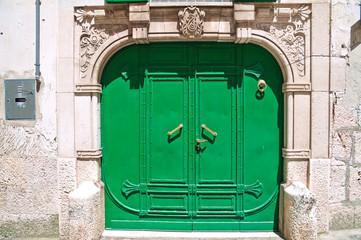 Green door. Altamura. Puglia. Italy.