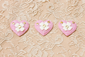 pink heart on lace background