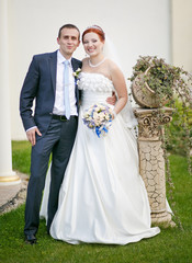 Happy newlywed young caucasian couple