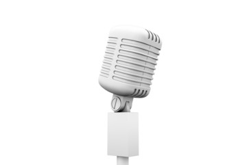 Digitally generated retro white microphone