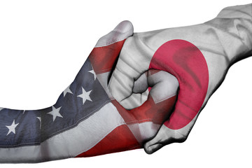Handshake between United States and Japan