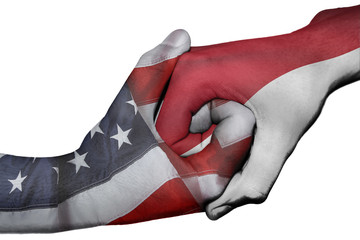 Handshake between United States and Indonesia