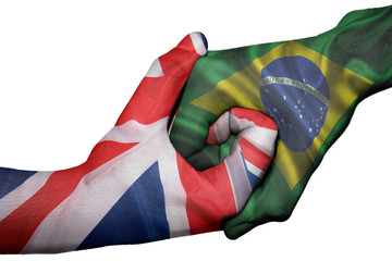 Handshake between United Kingdom and Brazil