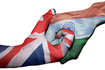 Handshake between United Kingdom and India