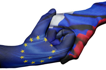 Handshake between European Union and Russia