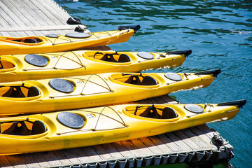 Four Yellow Kayaks