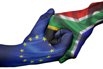 Handshake between European Union and South Africa