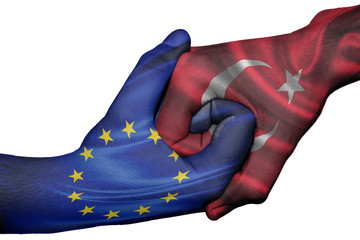 Handshake between European Union and Turkey