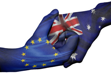 Handshake between European Union and Australia