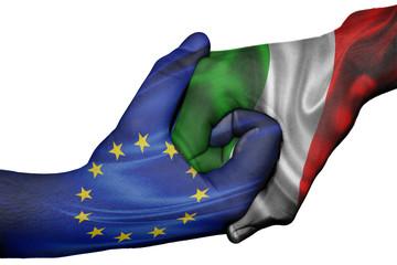 Handshake between European Union and Italy