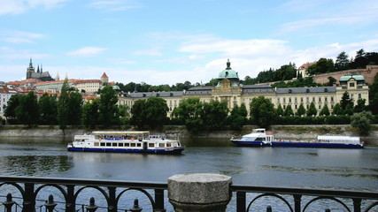 Vltava River With Prague Castle And Government Office In Prague