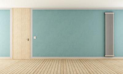 Blue room with modern radiator