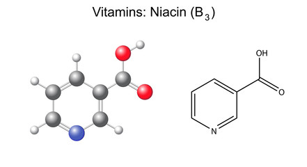 Chemical formula and model of niacin (nicotinic acid) vitamin