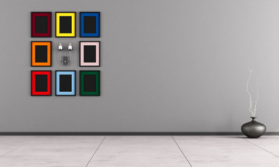 Minimalist room with colorful frame