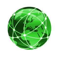 connect the world Green globe