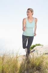 Fit blonde jogging on mountain trail