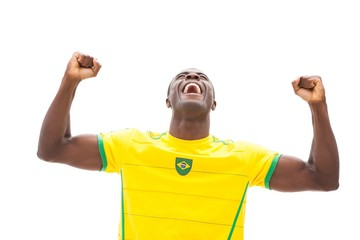Excited brazilian football fan cheering