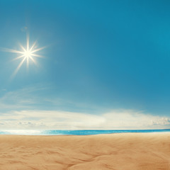 Beach background. Blue sky, the sea, the sun shining. Spa resort