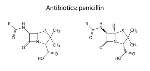 Structural chemical formulas of antibiotic penicillin