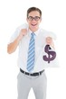 Geeky happy businessman holding bags of money
