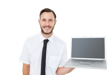 Hipster businessman showing his laptop