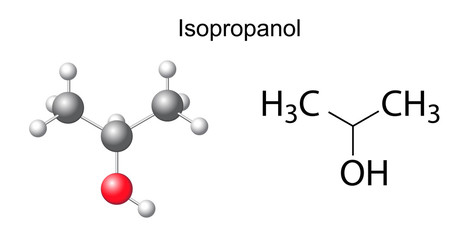 Structural chemical formula of isopropanol molecule