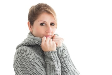 Close up portrait of woman in warm clothing