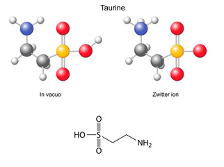 Taurine (tau) - chemical structural formula and models