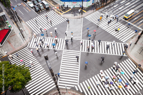 Leinwanddruck Bild Straßenkreuzung in Tokyo