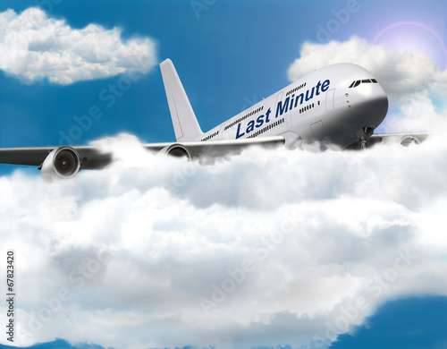 canvas print picture Jumbo Jet in den Wolken, Last Minute