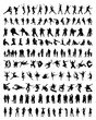 Big and different set of people silhouettes, vector