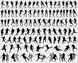 Silhouettes and shadow of football players. vector