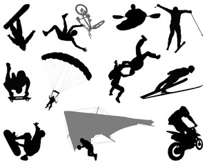 Silhouettes of extreme sports, vector