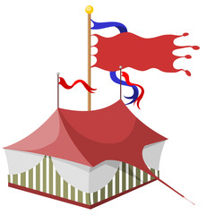 marquee tent with fluttering ribbons and flag