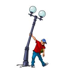man bent street lamp