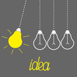 Hanging yellow light bulbs. Perpetual motion. Idea concept. Grey