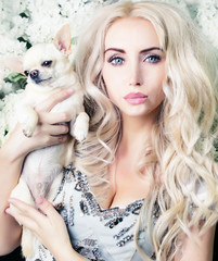 glamour girl with chihuahua