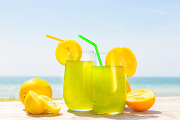 Refreshing fruity juice with the fresh lemon and orange