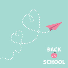 Back to school. Origami paper plane on blue. Two dash hearts