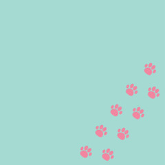 Paw print track in the corner. Blue and pink.