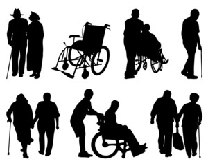 Silhouettes of old and  disabled people, vector