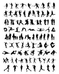 Big and different set of people silhouettes 3, vector
