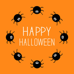 Cute cartoon spider round frame. Halloween card. Orange