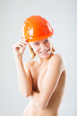 naked girl in the construction helmet