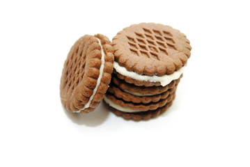 Stacked Chocolate Cookies with a Cream Center