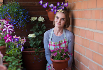 girl with potted flowers