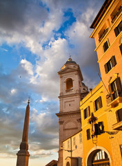 View of historical buildings in Rome, Italy. Lit with a sunset l
