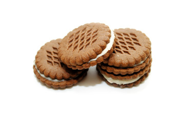 Wafer Cookie Sandwiches Isolated Over a White Background