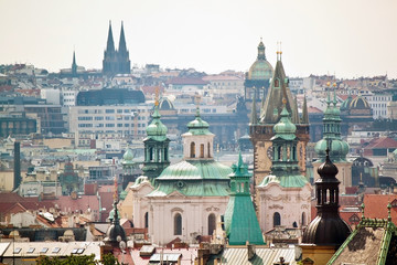 Cityscape view of historical buildings in Prague, Czech Republic
